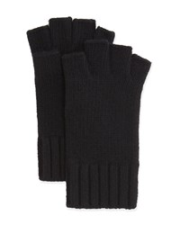 Goodman's Fingerless Knit Cashmere Gloves Black