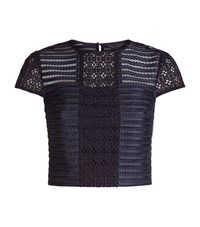 Ted Baker Lukah Lace And Mesh Panelled Top Female Navy