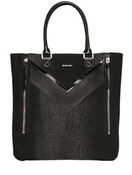 Diesel Treated Denim And Faux Leather Tote