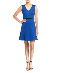 Marc New York By Andrew Marc V Neck Sleeveless Stretch Jersey Fit And Flare Dress W Embellished Waist True Blue