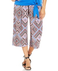 Ny Collection Plus Size Pleated Geo Print Wide Leg Gaucho Pants Red Multi