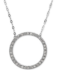 Macy's Diamond Circle Pendant Necklace 1 10 Ct. T.W. In 10K White Gold