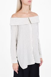 Tibi Off The Shoulder Striped Shirt Ivory