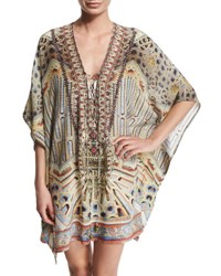 Camilla Printed Beaded Lace Up Short Caftan Coverup Byzantine Realms