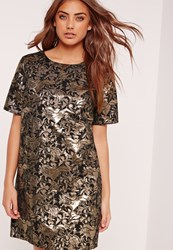Missguided Jacquard Shift Dress Gold