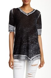 Cullen Elbow Sleeve Waffle V Linen Blend Tunic Black