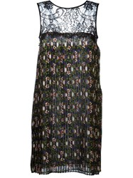P.A.R.O.S.H. Floral Print Pleated Dress Black