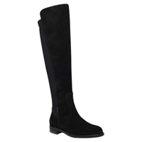 Carvela Walnut Suede Flat Knee High Boots Black