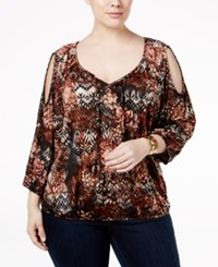 Ny Collection Plus Size Printed Cold Shoulder Peasant Top Tan Alkann
