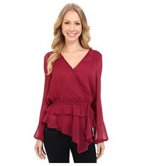 Adrianna Papell Chiffon Wrap Top With Ruffle Waist Detail Beet Women's Blouse Red