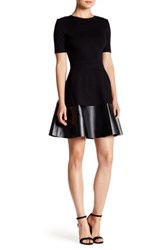 Love Ady Elbow Sleeve Fit And Flare Pleather Hem Dress Black