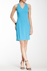 Yigal Azrouel Matte Crepe V Neck Dress Blue