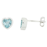 Nina B Sterling Silver Heart Stud Earrings Topaz
