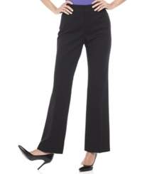Jm Collection Petite Twill Straight Leg Trousers Black