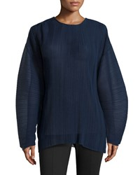 Stella Mccartney Plisse Chiffon Long Sleeve Blouse Navy