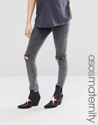 Asos Maternity Ridley Skinny Jean In Acid Black With Extreme Busts And Raw Hem Black Acid Wash