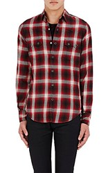 Saint Laurent Men's Plaid Western Shirt Red Black No Color