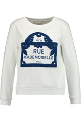 Maje Memoire Appliqu And Eacuted Cotton Sweatshirt White