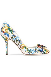 Dolce And Gabbana Swarovksi Crystal Embellished Brocade Pumps Blue
