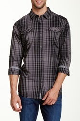 Burnside Spread Collar Plaid Shirt Gray