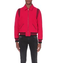 Saint Laurent Striped Wool Blend Teddy Jacket Red