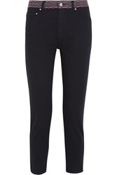 Etoile Isabel Marant Andreas Cropped Embroidered Boyfriend Jeans Black