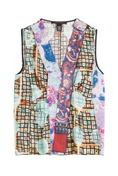 Marc Jacobs Printed Silk Sleeveless Blouse With Tulle Multicolor