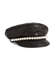 Moschino Faux Pearl Leather Biker Hat Black