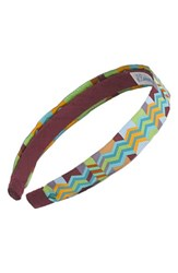 L. Erickson Satin Ribbon Headband Brown Zig Zag Brown Turquoise Lime
