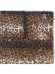 Givenchy Leopard Print Scarf Brown