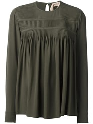 N 21 No21 Pleated Panel Longsleveed Blouse Green