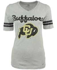 Soffe Women's Short Sleeve Colorado Buffaloes V Neck T Shirt Gray