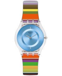 Swatch Women's Swiss Pretty Ladder Multicolor Silicone Strap Watch 34Mm Sfe107