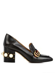 Gucci Peyton Faux Pearl Heel Leather Pumps