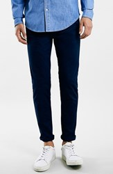 Topman Men's Stretch Skinny Fit Chinos Dark Blue