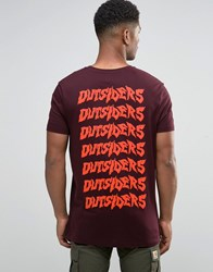 Asos Longline T Shirt With Outsiders Back Print In Relaxed Skater Fit Oxblood Red