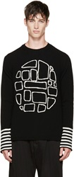 Comme Des Garcons Black And White Intarsia Wool Knit Sweater