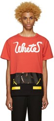 Off White Red 'White' Patchwork T Shirt