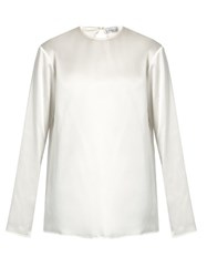 Raey Crew Neck Silk Satin Blouse Ivory