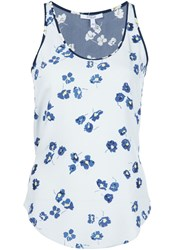 Derek Lam 10 Crosby Floral Tank Top Blue