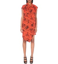 Anglomania Painting Print Crepe Dress Flame