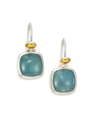 Gurhan Lentil Aquamarine 24K Yellow Gold And Sterling Silver Dangling Storm Drop Earrings Silver Gold