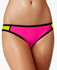 Hula Honey Colorblocked Hipster Bikini Bottoms Women's Swimsuit Hot Fushia Lemon