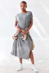 Silence And Noise Side Slit Muscle Tee Maxi Dress Grey