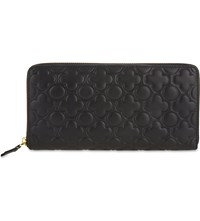 Comme Des Garcons Clover Embossed Long Leather Wallet Black Classic Emb