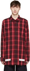 Off White Red And Black Flannel Check Shirt