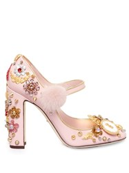 Dolce And Gabbana Clock Fur Embellished Leather Pumps Light Pink