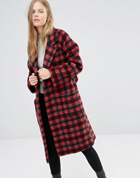 Ganni Tie Waist Long Coat In Red Check Pompeian Red Check Multi