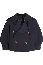 Comme Des Garcons Ester Cropped Double Breasted Crepe Jacket Navy