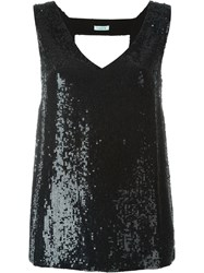 P.A.R.O.S.H. Sequin Embellished Front Top With Open Back Detail Black